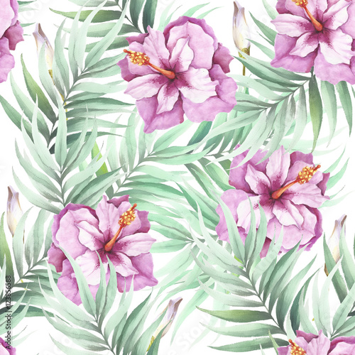 Seamless pattern with tropical flowers and leaves. Watercolor illustration. - 123856588