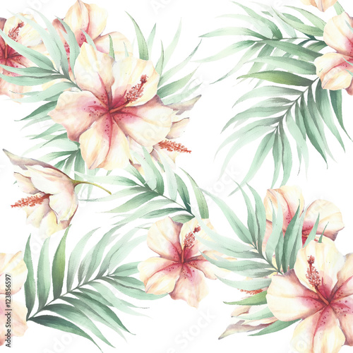 Seamless pattern with tropical flowers and leaves. Watercolor illustration. - 123856597