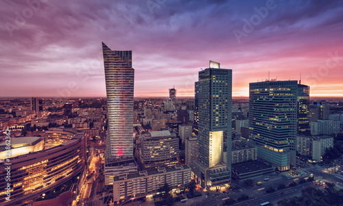 Warsaw Downtown, Poland. Sunset behind the skyscrapers
