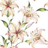 Seamless pattern with lilies. Hand draw watercolor illustration