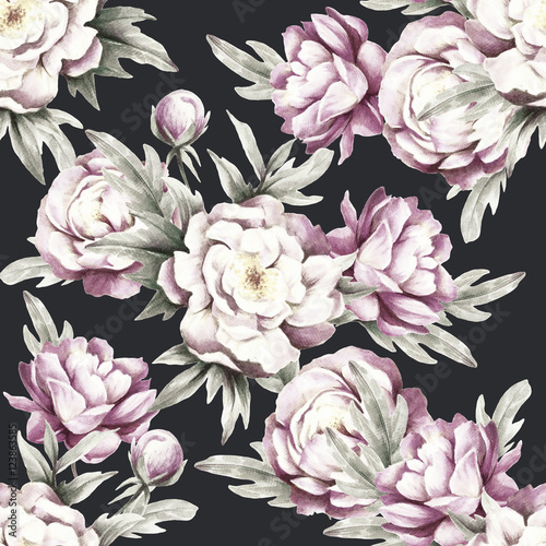 Seamless pattern with peonies. Hand draw watercolor illustration. - 123863585