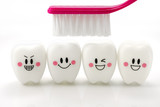 Toys teeth in a smiling mood isolated on white background with clipping path - 123870151