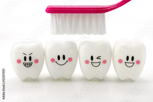 Toys teeth in a smiling mood isolated on white background with clipping path