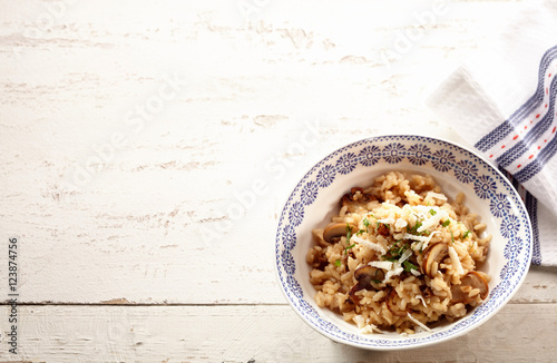 Bowl of risotto with mushrooms