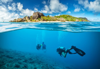 Divers below the surface in Seychelles