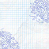 Fanciful ornate hand drawn doodle on notepad sheet with crumpled texture effect. Vector illustration.