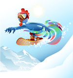 Rooster on snowboard riding mountain. Blue cock symbol 2017