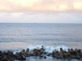朝の海と消波ブロック