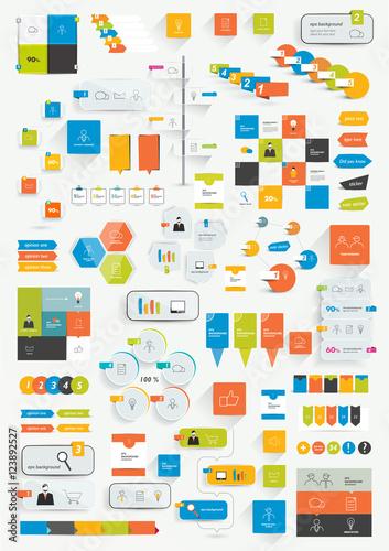 Set of infographics flat design elements. Various color schemes, boxes, speech bubbles, charts. Vector illustration.