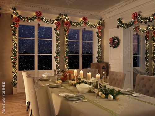nordic diner table with christmas decoration by night. 3d rendering