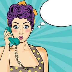 Pop art  woman chatting on retro phone . Comic woman with speech