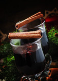 Mulled wine in large glasses for hot drinks in Christmas decorat