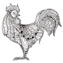 Hand drawn vector illustration of doodle cock.