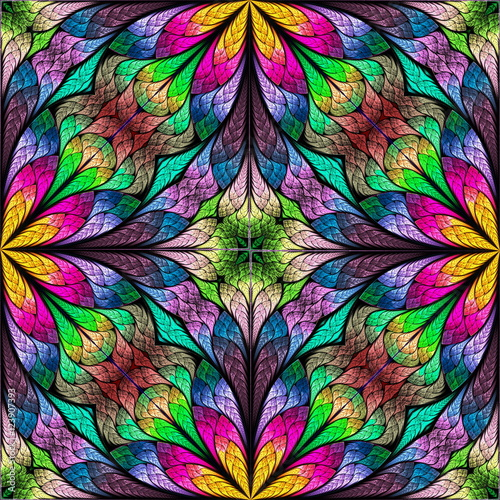 Multicolored floral pattern in stained-glass window style. You c - 123907393