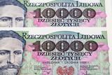 Old Polish money ten thousand zloty