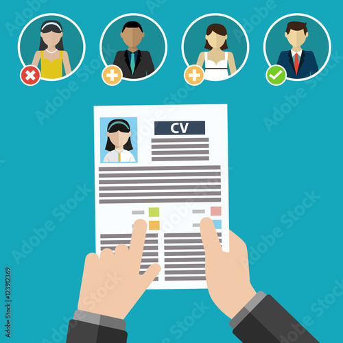 Vector illustration concept of human resources management, finding ...