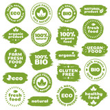 Natural product, healthy food, fresh food, organic product, vegan food, farm fresh food, gluten free, bio and eco label template watercolor shapes isolated on white background. Vector Illustration - 123913105
