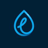 L letter logo in blue water drop.
