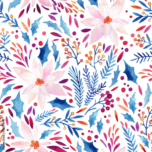 Cotton fabric Watercolor ornate flowers, holly, seeds, fur-tree twigs seamless pattern.