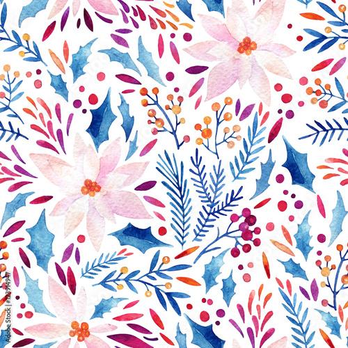 Materiał do szycia Watercolor ornate flowers, holly, seeds, fur-tree twigs seamless pattern.