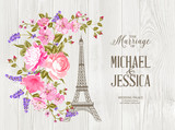 Eiffel tower icon with spring blooming flowers over gray wooden texture with sign The Marriage of Michael and Jessica. Vector illustration.