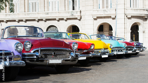 Deurstickers Havana Colorful American Classic car on the street in Havana Cuba