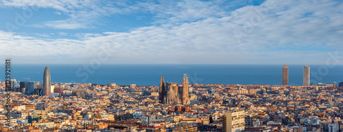 Aluminium Barcelona Sagrada Familia and panorama view of barcelona city,Spain