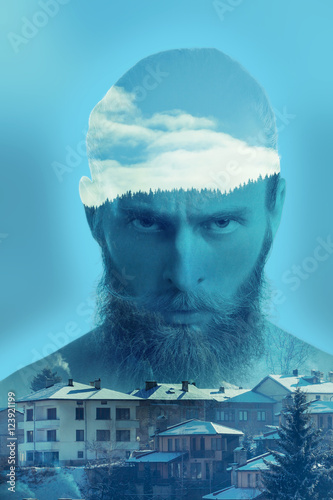 Bearded angry hipster in double exposure image - 123921199