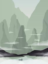 Azji Południowo-Wschodniej ilustracja krajobraz wektor z skały, klify i morze. Chiny i Wietnam promocja turystyki.