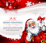 Vintage Christmas card design with cartoon Santa Claus holding a present. Retro vector illustration.