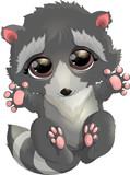 beautiful gray raccoon