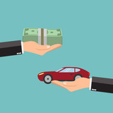 Businessman hands buying car - vector illustration.