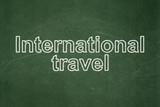 Travel concept: International Travel on chalkboard background
