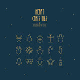 christmas golden thin line icons