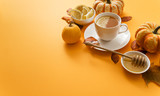 autumn healthy tea on bright background