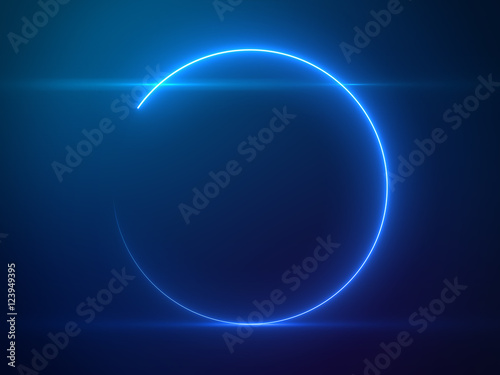 Billede Beautiful Blue Circle Light with Lens Flare - Luxury Background Design Element