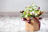 Bouquet flowers on floor