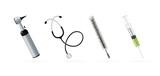 Medical equipment-syringe, stethoscope, thermometer, otoscope.