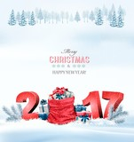 Happy new year 2017! Holiday Christmas background with a sack fu