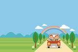 ドライブを楽しむ家族(春・夏・ヨコ)青空バック