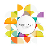 Abstract geometric pattern template with a variety of geometric on white circle space for corporate business, leaflet, cover, page, brochure, flyer, poster layout. vector illustration