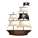 pirate ship isolated icon vector illustration design
