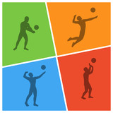 Modern vector illustration for volleyball.