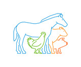 Line logo for farmers market. Linear farm animals on a white background.