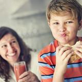Parent Child Kid Meal Juice Bread Boy Starving Concept