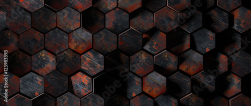 Dark Rusty Metal Hexagon Tiles Background - 123983393