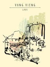 Montagnes, la rivière et une maison d'hôtes à Vang Vieng, Laos, Asie du Sud-Est. main Vintage dessiné carte postale touristique dans le vecteur