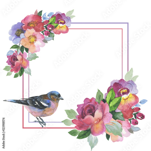 Wildflower rose flower frame in a watercolor style isolated. Full name of the plant: rose, hulthemia, rosa. Aquarelle wild flower for background, texture, wrapper pattern, frame or border. © yanushkov