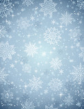 Grey christmas background with snowflakes and stars, vector illu