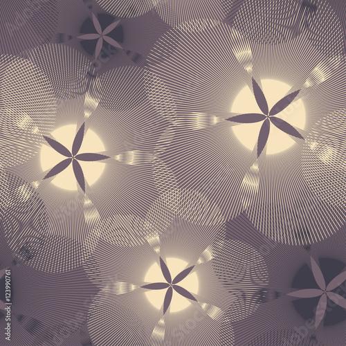 Materiał do szycia graphic flowers seamless pattern in brown